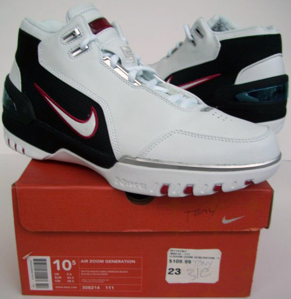 14a91e90da799 Air Zoom Generation AZG 1 (White White-Vars Crimson-Black) 308214 111 Size  US 10.5