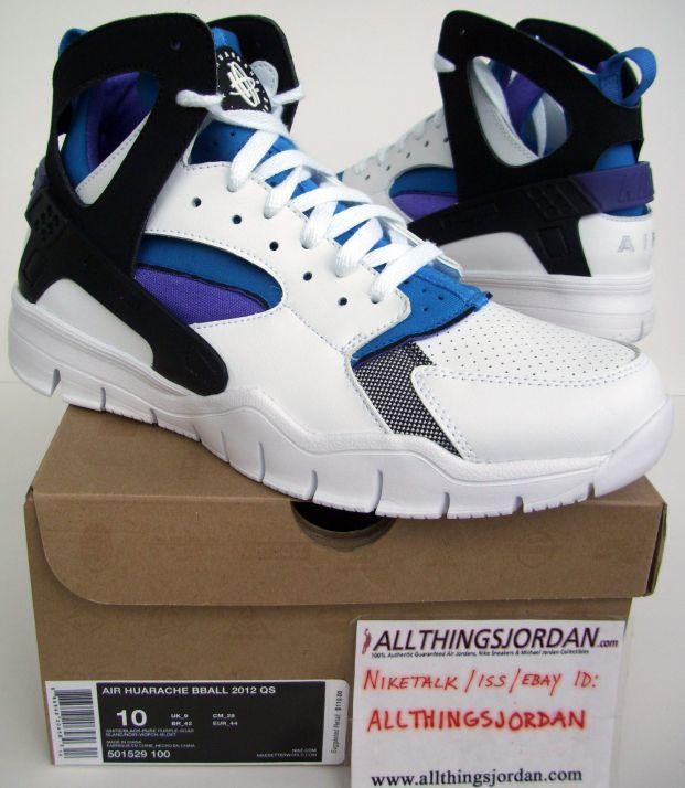 00d16127b074 Nike Huarache BBall 2012 QS (White Black-Pure Purple-Soar) 501529 ...