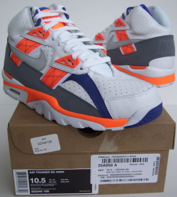 half off 8ab3a 87220 Nike Nike Air Trainer SC High 302346 106 (WhiteLight Zen Grey-Total Orange-Stealth)  Size 10.5