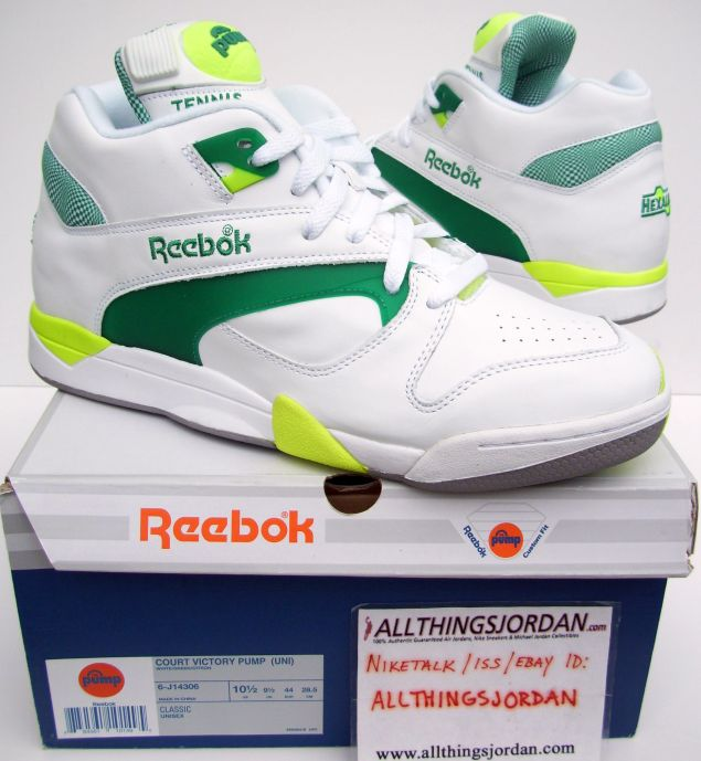 0c319c0700a9 Reebok Court Victory Pump (White Green-Citron) 6-J14306 Size US 10.5