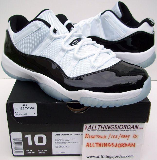 da6210375f5808 Air Jordan 11 Retro Low Concords (White Black-Dark Concord) 528895 ...